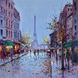 Towards the Eiffel Tower by Henderson Cisz -  sized 24x24 inches. Available from Whitewall Galleries